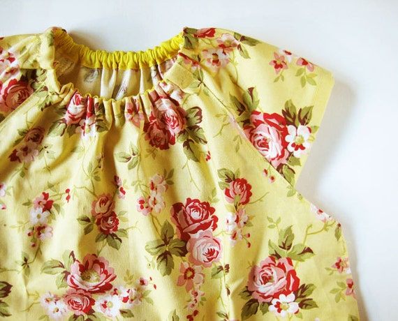 Baby smock 1-2 yrs - pink roses on yellow