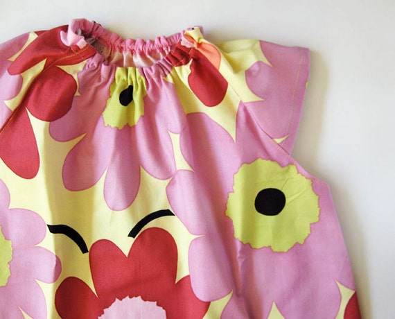 Baby smock 1-2 yrs - mauve flowers on yellow
