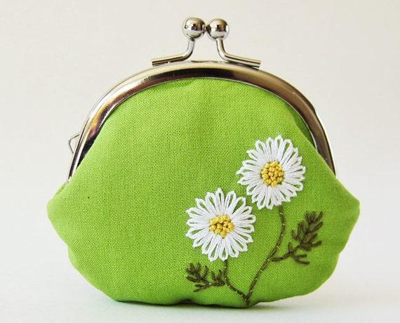 coin purse white daisies on grass green