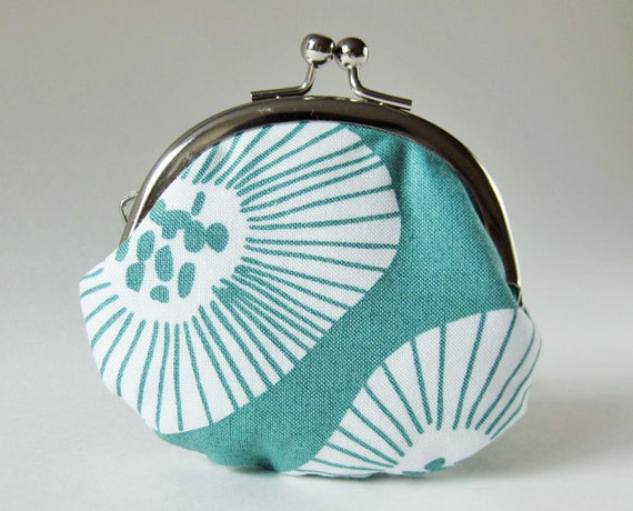 coin purse - flowers on seafoam green