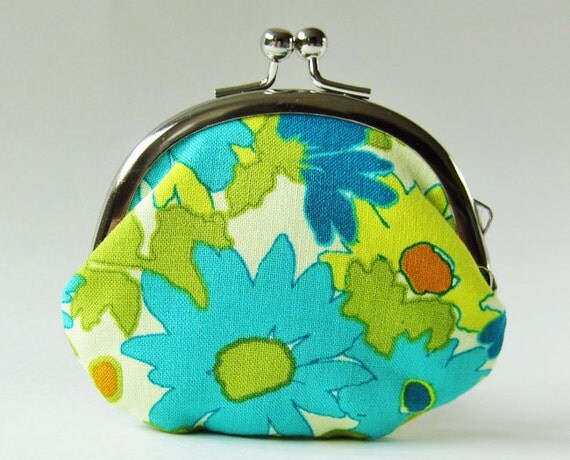 coin purse-  green and blue retro flowers