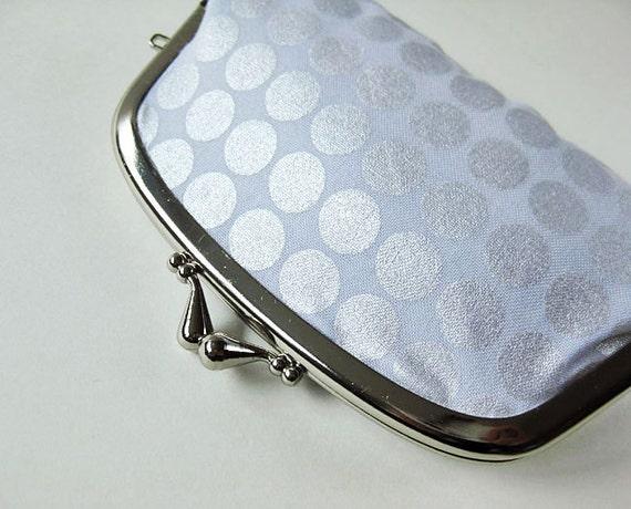 Coin purse / wallet - platinum dots