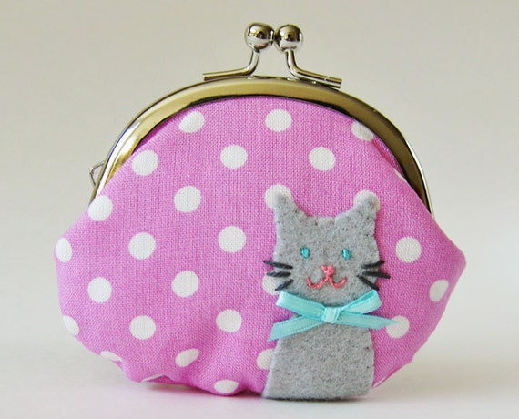 Cat coin purse polka dots mauve