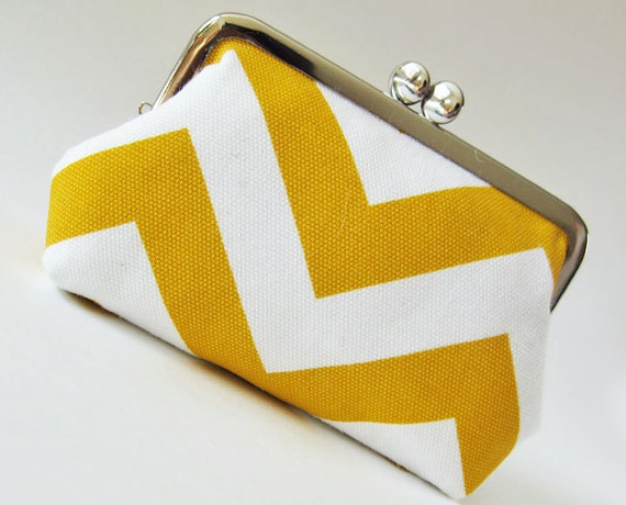 yellow chevron stripes purse