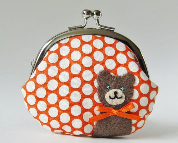 Coin purse brown bear orange polka dots