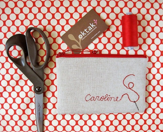 Personalized zipper pouch - your name or word embroidered on linen
