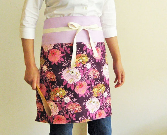 Apron - flowers on purple with lavender band reversible