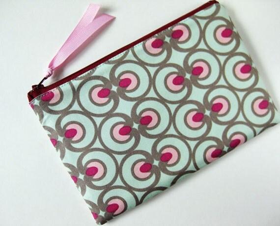 Zipper pouch - optical art mint green pink berry