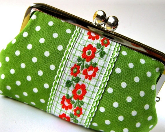 medium frame pouch - polka dots on green with flower ribbon