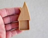 Brooch Bezel - Totally Handmade Cherry Blank Base Setting for Artwork - Whimsical House - 1 Inch Interior Square