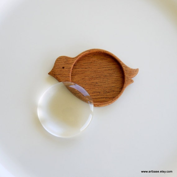 "Bird - Wood Bezel - Brooch Blank - Handmade by Artbase - Mahogany - 1.5"" (38 mm) Int. Circle - Glass Cab"