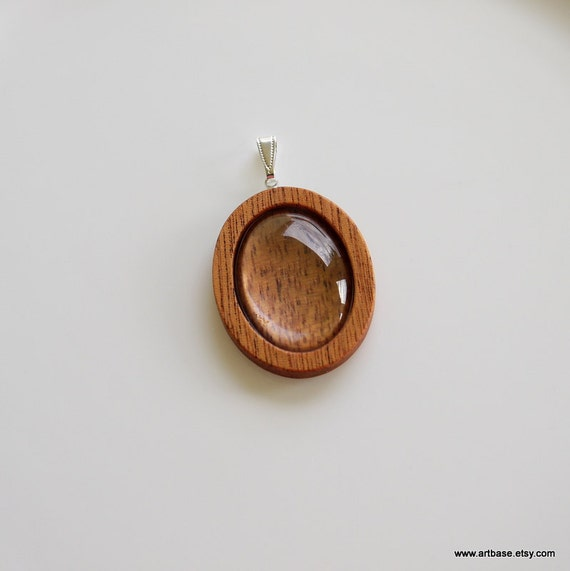 Pendant Cameo Blank - Handmade by Artbase - Wood Bezel Cup - 22x30 Cabochon - Oval