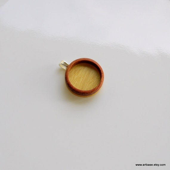 Blank Bezel Pendant - Handmade Wooden Blank - Pendant Setting - Miniature Photo Pendant - Blank Bezel Cup - 18 mm Interior Circle - Oval