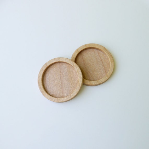 "Pendant Bezel Cup - Brooch Blank - Pendant Tray - Wooden Bezels - Handmade by Artbase - 1"" Interior Circle - Maple Wood - (G3) - Set of 2"