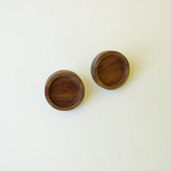 NEW ITEM - Stud Earrings - Blank Bezels - Handmade by Artbase  - Walnut Wood - 15 mm Int. Circle - Set of 2