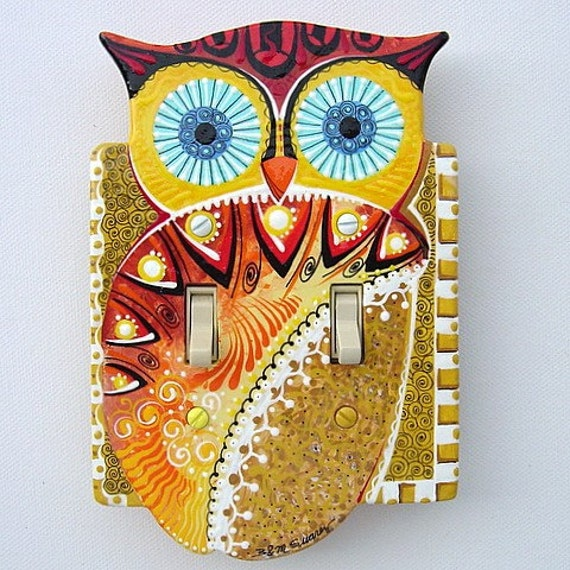 Hand Painted Wooden Owl Double Switchplate Earth Tones