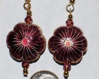 Cloisonne Flower Earrings - Plum