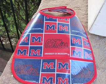 WATERPROOF WIPEABLE Baby to Toddler Ole Miss Wipeable Plastic Coated Bib