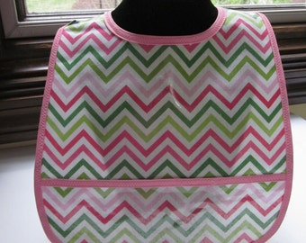 WATERPROOF WIPEABLE Baby to Todder Plastic Coated Bib Pink and Green Chevron