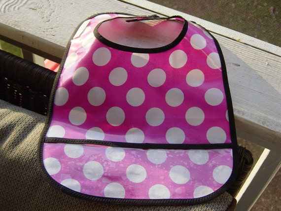 WATEERPROOF WIPEABLE Baby to Toddler Plastic Coated Bib Pink with Big White Dots
