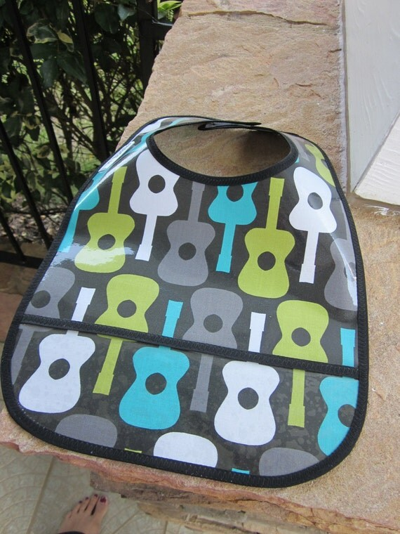 WATERPROOF WIPEABLE Baby Bib  Michael Miller's Groovy Guitar in Black Wipable Plastic Coated Bib