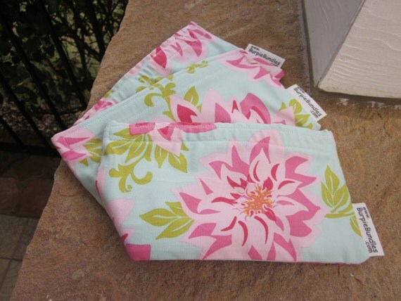 SNACK BUNDLE Dahlia Spring Floral TWO Small Waterproof Washable Reusable Snack Bags