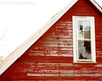 rustic home decor, red home decor, farm photography, barn photograph, country decor, alabama, gable window, red wall art
