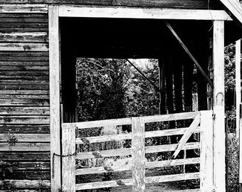 rustic home decor, black and white, landscape photography, farm cottage, stable, country home decor, alabama fine art