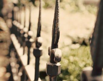 landscape photography abstract bokeh decor wrought iron fence fleur de lis finials fine art photograph Afternoon Glow