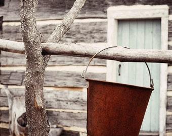 farmhouse decor, rustic home decor, farm photography, grey home decor, rustic wall art, log cabin, farm decor, country home decor Rusty Pail