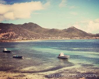 caribbean photography st martin photograph aqua blue beach ocean boat wall art home decor Floating