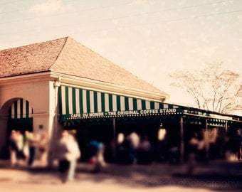 new orleans photograph french quarter fine art new orleans art green decor cafe decor ktichen decor art Cafe du Monde