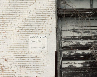 industrial decor, door photography, old building photo, brick wall art , andalusia alabama, white decor, rustic, Receiving