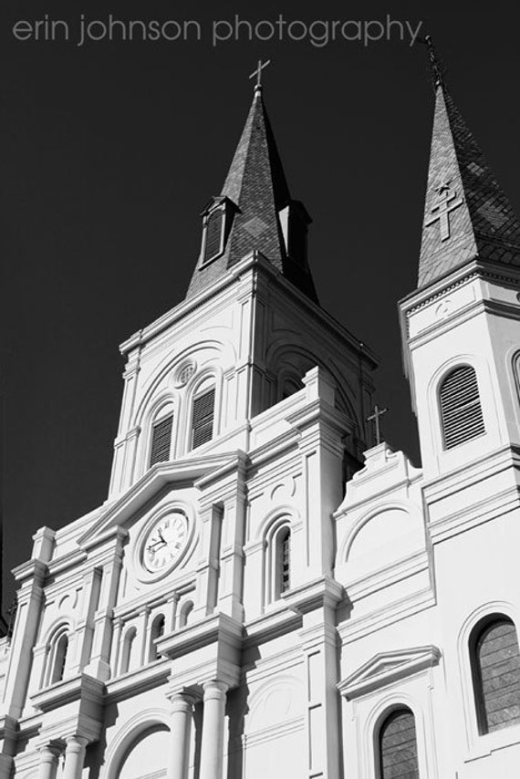 new orleans photography french quarter art black and white decor architecture photograph St Louis Cathedral no 1