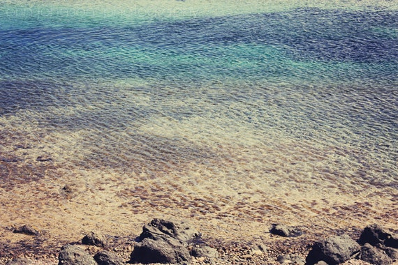 Ocean Photography ombre, tropical, landscape, water, beach photograph, caribbean, st martin, blue home decor Ripples