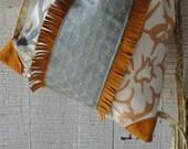 Blue Orange Leather Fringed Drawstring Backpack, unchanginggrace