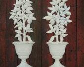 vintage wall sconces  plastic painted botanical potted 3-D