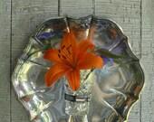 Hexagonal  tarnished silver tray upcycled wall bud vase/candle holder