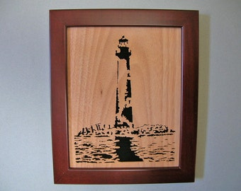 Lighthouse cut in wood