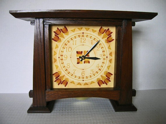 Arts and crafts mantel clock with pendulum tulip motif dial for Arts and crafts mantle clock