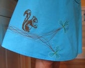Blue A-Line Skirt w/Screen Printed Squirrel