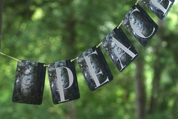 Peace.  A Photograph Banner (garland) An Early Morning Prayer in the Redwoods.