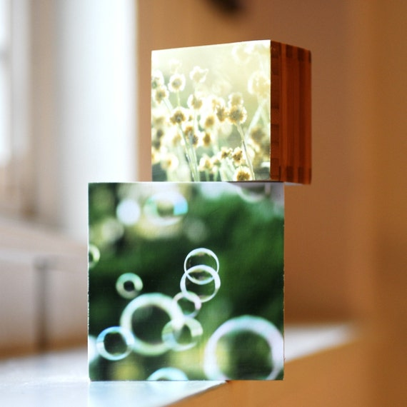 Summer bubbles and fields of grass...  A nesting box set or a stacking block set, or both.