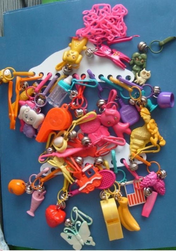 Lot Of 32 1980 80s Plastic Bell Charms Clips Vintage Retro