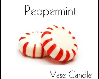 Peppermint Vase Candle 2.8 oz Wax Melts - Highly Scented, Hand Poured Fresh, Premium Paraffin Soy Blend Wax Tarts, 25 Hour, Color Free