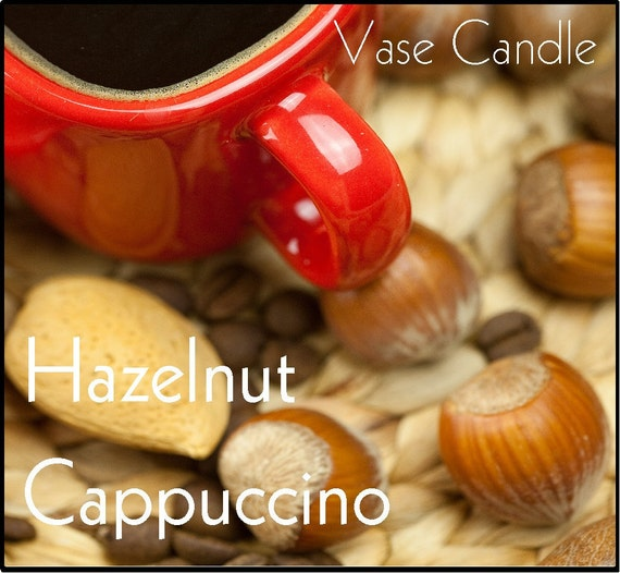 Hazelnut Cappuccino Vase Candle 2.8 oz Wax Melts - Highly Scented, Hand Poured, Premium Paraffin Soy Blend Wax Tarts, 25 Hour, Color Free
