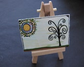 The Cheeky Sun and the Twisty Tree ACEO painting