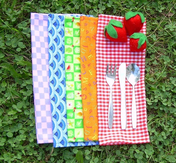 Lunch Box Cloth Napkins - Lunch Cloth Napkins - Mini Cloth Napkins - Snack Mat - Reusable Napkins-Lunchbox Napkins -Back to School -Set of 5