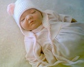 RESERVED 4Janet - NB-03 Mos BabyBear Earflap - White and Pink