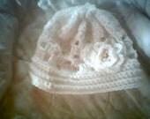RESERVED 4Janet - NB-03 Months Handmade Beanie - White Lattice Rose